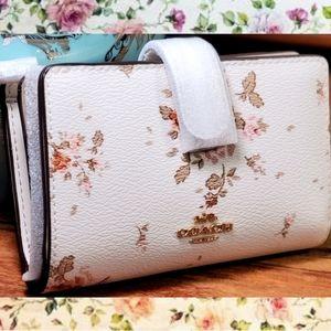 Coach Med Corner Zip Wallet w/ Rose bouquet print